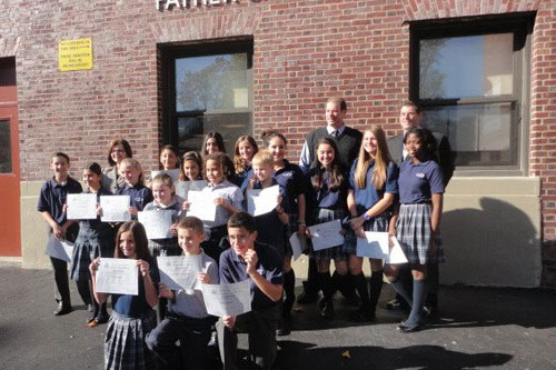Assemblyman Braunstein presented certificates to the newly elected Divine Wisdom Catholic Academy Student Council Representatives 2012-2013, pictured here with Principal Michael A. LaForgia and the Divine Wisdom Catholic Academy Student Council Representatives.