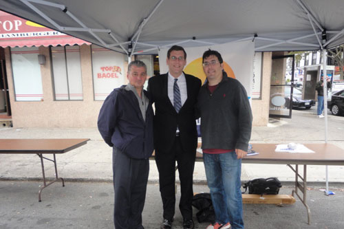 Assemblyman Braunstein and his staff held a Mobile District Office at the Bayside Village BID's Halloween Festival prior to Hurricane Sandy and distributed disaster preparedness kits and other important information to constituents. Pictured from left to right: Dominick Bruccoleri, Chairman of the Board of Directors of the Bayside Village BID, Assemblyman Edward Braunstein and Lyle Sclair, Executive Director of the Bayside Village BID.