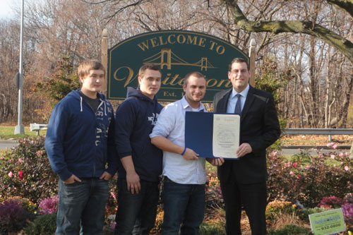 On November 28, 2012, Assemblyman Braunstein joined the Welcome to Whitestone Commercial and Residential Civic Association in celebrating the 1st Anniversary of the installation of the Welcome to Whitestone sign. Pictured from left to right: Welcome To Whitestone member, Dylan O'Connor; Executive Vice-President, Logan O'Connor; President Devon O'Connor and Assemblyman Edward Braunstein.