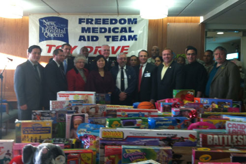 On December 14, 2012, Assemblyman Braunstein delivered toys donated to his annual Holiday Toy Drive to New York Hospital Queens Freemat toy drive, pictured here with members of Freemat and his colleagues.
