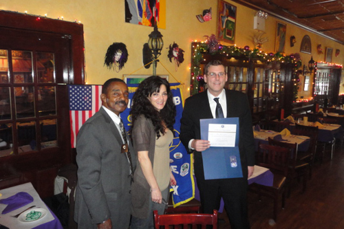 On February 6, 2013, Assemblyman Braunstein provided an update to the members of the Bayside Kiwanis Club regarding this year's session in Albany and commended them for the important work they do for our community, pictured here with Kiwanis New York District Past Governor, William Risbrook and Bayside Kiwanis Club President, Margaret Mora.