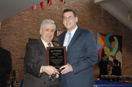 On Sunday, March 24, 2013, Assemblyman Braunstein was presented with the Freedom Award at the Queensborough Community College Harriet & Kenneth Kupferberg Holocaust Resource Center�s annual Holocaust Freedom Seder. Assemblyman Braunstein is pictured here with Dr. Arthur Flug, Executive Director of the Kupferberg Holocaust Resource Center.