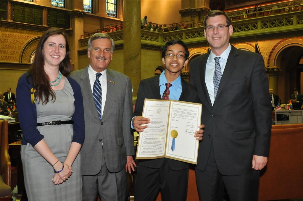On Tuesday, June 18, 2013, Assemblyman Braunstein presented a resolution honoring his constituent, the 2013 Scripps National Spelling Bee Champion, Arvind Mahankali. Assemblyman Braunstein is pictured here with Assemblywoman Nily Rozic, Assemblyman David Weprin and Arvind Mahankali.