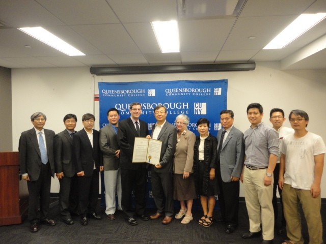 On Wednesday, June 26, 2013, Assemblyman Braunstein joined Senator Toby Ann Stavisky, Assemblyman Ron Kim, and Assemblyman Charles Lavine, in presenting a resolution, honoring the Harriet & Kenneth Kupferberg Holocaust Resource Center and Archives at Queensborough Community College, and Korean American Civic Empowerment (KACE), for their devoted work on behalf of Comfort Women. Assemblyman Braunstein is pictured here with Dal Kun Lee, Chejin Park, Esq., KACE Staff Attorney, Dongsuk Kim, KACE Steering Committee Chair, Assemblyman Ron Kim, Assemblyman Edward C. Braunstein, Dongchan Kim, KACE President, Senator Toby Ann Stavisky, Esther Lee, KACE Board Chair, Paul Yoo, Korean American Association of Queens President, Wonseok Song, KACE Program Director, Chae No, KACE Program Coordinator, and Dong Seok Kim, KACE Software Engineer.