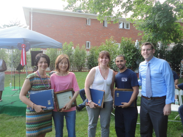 On Friday, June 28, 2013, Assemblyman Braunstein presented certificates of recognition to the Glen Oaks Village Employees of the Year at their Annual Company BBQ picnic.