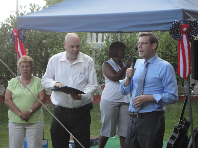 On Friday, June 28, 2013, Assemblyman Braunstein presented certificates of recognition to the Glen Oaks Village Employees of the Year at their Annual Company BBQ picnic. Assemblyman Braunstein is pictured here with Bob Friedrich, President of Glen Oaks Village.
