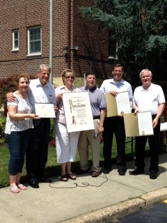 On Sunday, July 14, 2013, Assemblyman Braunstein presented a joint resolution with Senator Tony Avella to the Deepdale Gardens Corporations, Inc. in Little Neck, in honor of its 60th Anniversary. Assemblyman Braunstein is pictured here with Marcy Stecker, Director of Deepdale Gardens, Congressman Steve Israel, Carol Leins, Deepdale Gardens Board President, City Councilman Mark Weprin and Senator Tony Avella.