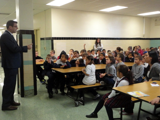On Monday, October 21, 2013, Assemblyman Braunstein attended Safety Awareness Day at St. Luke School and spoke with the students about the importance of safety in emergency situations.