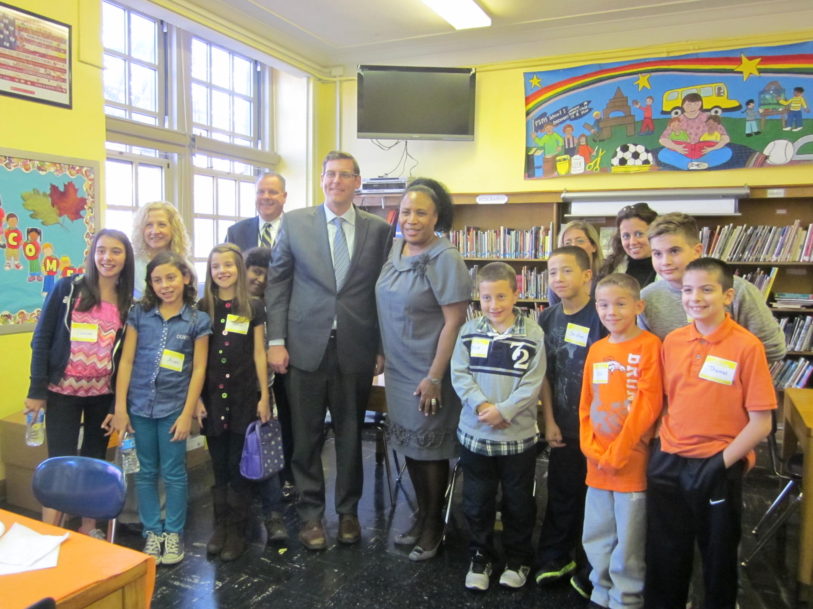 On Monday, October 28, 2013, Assemblyman Braunstein served as Principal for a Day at PS 193. He is pictured here with Principal Joyce Bush, PTA Co-Presidents Athena Pappas and Laura Koutsavlis, PTA Community Liaison George Kosnik, and Susan Pesso, chair of the SLT committee.