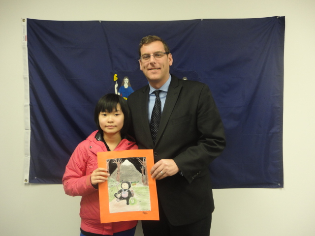 On November 26, 2013, Assemblyman Braunstein congratulated Joyce Zheng, 5th Grade Grand Prize Winner of his Halloween Essay and Drawing Contest 2013.