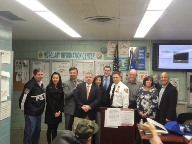 On Tuesday, December 3, 2013, Assemblyman Braunstein honored Community Affairs Officer Gary Poggiali, who is retiring after many years of service to the NYPD and Northeast Queens, at the December 111th Precinct Community Council meeting. Assemblyman Braunstein is pictured with Lieutenant Dan Heffernan, Constituent Liaison Joanne Choi from Congresswoman Grace Meng's office, Community Board 11 Chair Jerry Iannece, Community Affairs Officer Gary Poggiali, Chief of Staff Ruth Wimpfheimer from Councilman Mark Weprin's office, Deputy Inspector Jason Huerta, 111th Precinct Community Council President Jack Fried, Community Board 11 District Manager Susan Seinfeld, and Councilman-elect Paul Vallone.
