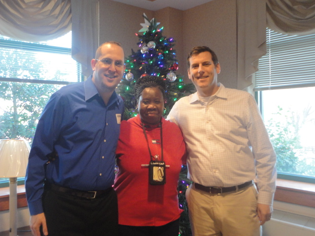 On December 19, 2013, Assemblyman Braunstein delivered donations from his annual Veterans' gift drive to the New York State Veterans' Home at St. Albans, pictured here with Chief of Staff David Fischer and Deirdre Samuel, Coordinator of Volunteer Services.