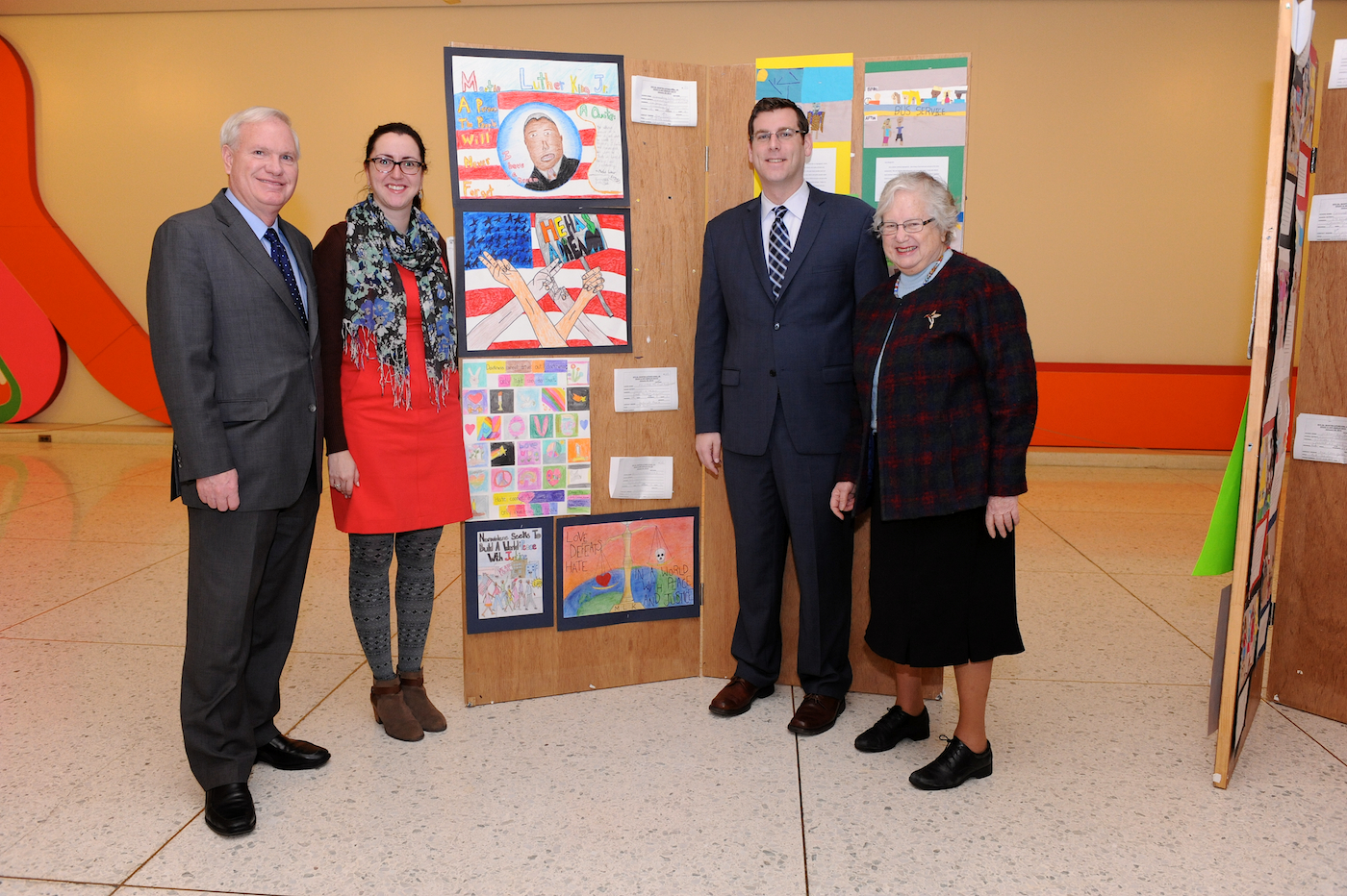 On Tuesday, January 14, 2014, Assemblyman Braunstein, joined by Senator Tony Avella, Senator Toby Ann Stavisky, and Assemblywoman Nily Rozic celebrated the artwork submitted by M.S. 158 students Ariana Belliard and Grace Na as part of the NYS Office of MWBE & Community Relations' 2014 Fine Art & Essay Display for Dr. Martin Luther King, Jr. at the Empire State Plaza in Albany.
