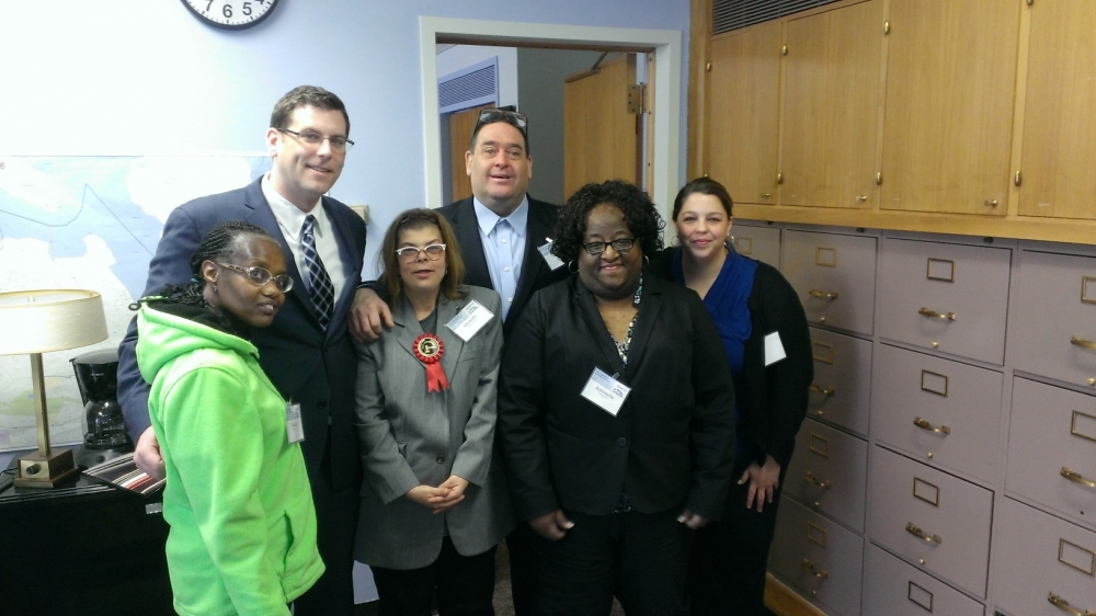 On February 11, 2014 Assemblyman Braunstein met with advocates from YAI in Albany. Assemblyman Braunstein is pictured with YAI Supervisor Lisa Lewis, YAI Assistant Supervisor Antoinette Powell, and self-advocating individuals from YAI, Yolanda Archer, Michelle Wensmann, and David Goldberg.