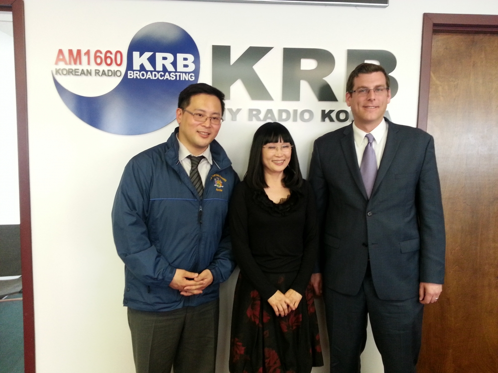 On April 11, 2014, Assemblyman Braunstein was interviewed by Korean Radio Broadcasting regarding efforts to pass A.8214, which would require all new textbooks to refer to the Sea of Japan also as the East Sea. Assemblyman Braunstein is pictured with Assemblyman Ron Kim and Chief Editor of KRB Mi-sun Chang.