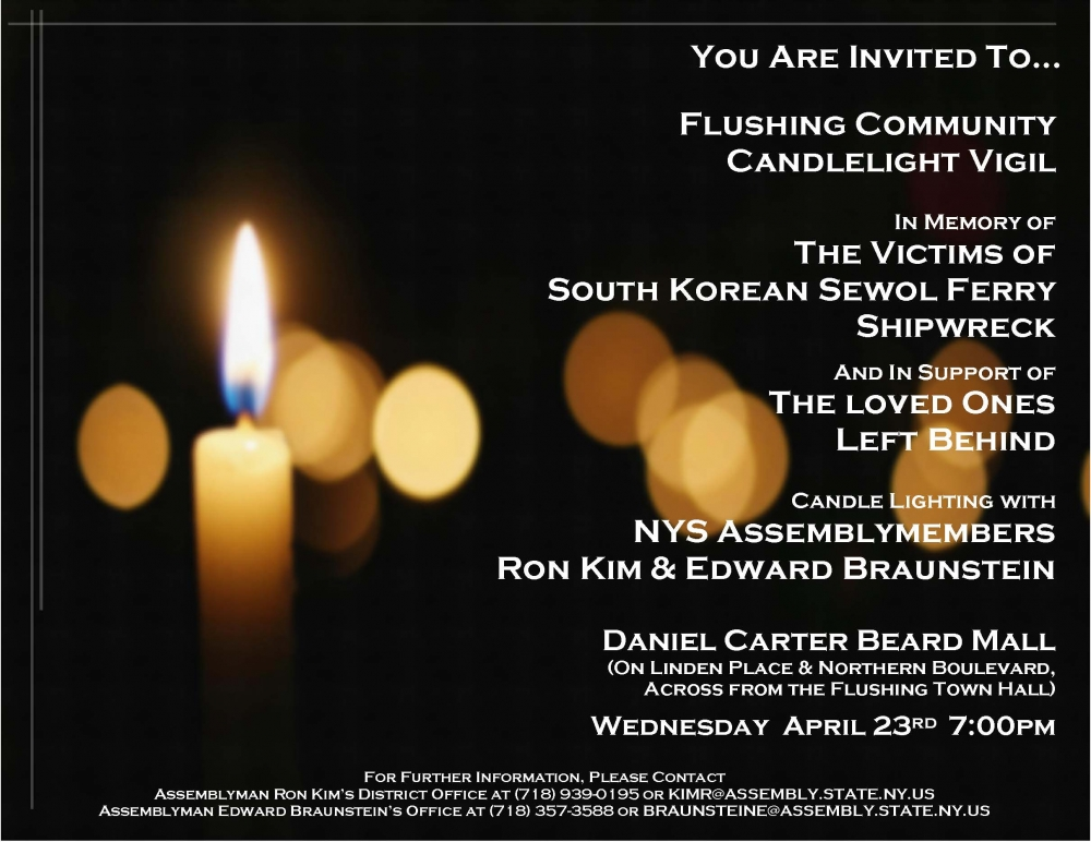 On April 22, 2014, Assemblymen Braunstein and Kim hosted a candlelight vigil in memory of the victims of the South Korean Sewol Ferry accident.