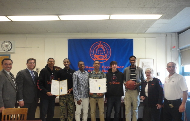 "On April 25, 2014, Assemblyman Braunstein and Senator Toby Ann Stavisky presented a legislative resolution to the Benjamin N. Cardozo High School Boys Basketball Team, which won the PSAL ""AA"" Boys Basketball Championship in March."