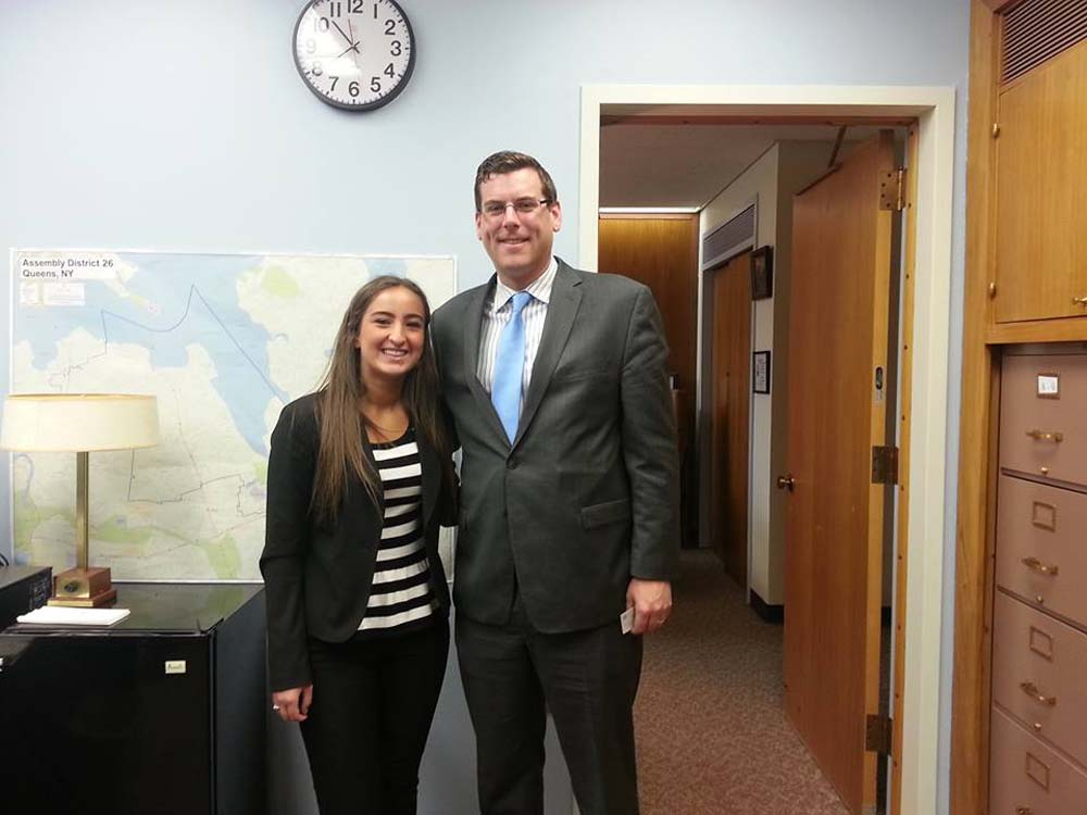 On April 29, 2014, Assemblyman Braunstein met with constituent Karina Miranda, a St. Francis Preparatory School student who serves as a New York delegate to the National Rural Electric Cooperative Association's Youth Leadership Council.