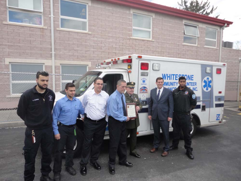 On May 2, 2014, Assemblyman Braunstein visited Baby Safe Haven at the Whitestone Volunteer Ambulance Service (WVAS). Assemblyman Braunstein is pictured with EMT Nicholas Manikis, Lieutenant Stephen Hershenfeld, WVAS Director of Public Relations Jason Fassler, WVAS President Vincent Zullo, Nassau County Baby Safe Haven President/Director Timothy Jaccard, and Dispatcher Juwan Arnold.