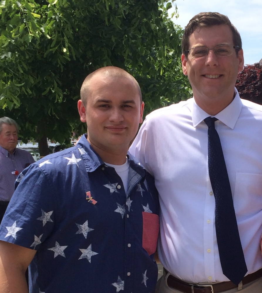 On Monday, May 26, 2014, Assemblyman Braunstein attended the Whitestone Veterans Memorial Association's Ceremony and Parade. Assemblyman Braunstein is pictured with Parade Chairman Devon O'Connor.
