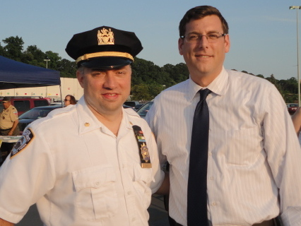 On August 5, 2014, Assemblyman Braunstein attended the 111th Precinct's National Night Out Against Crime. Assemblyman Braunstein is pictured with 111th Precinct Commanding Officer Deputy Inspector Jason Huerta.