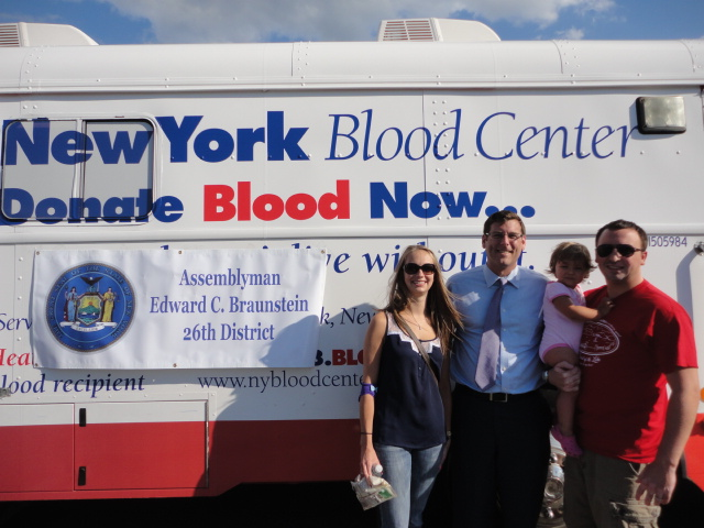 On August 14, 2014, Assemblyman Braunstein sponsored his 2nd Annual Summer Blood Drive with the New York Blood Center, which over 100 donors participated in. Assemblyman Braunstein is pictured with Jackie Dunham, Jonathan Torre, and Alexandra Torre.