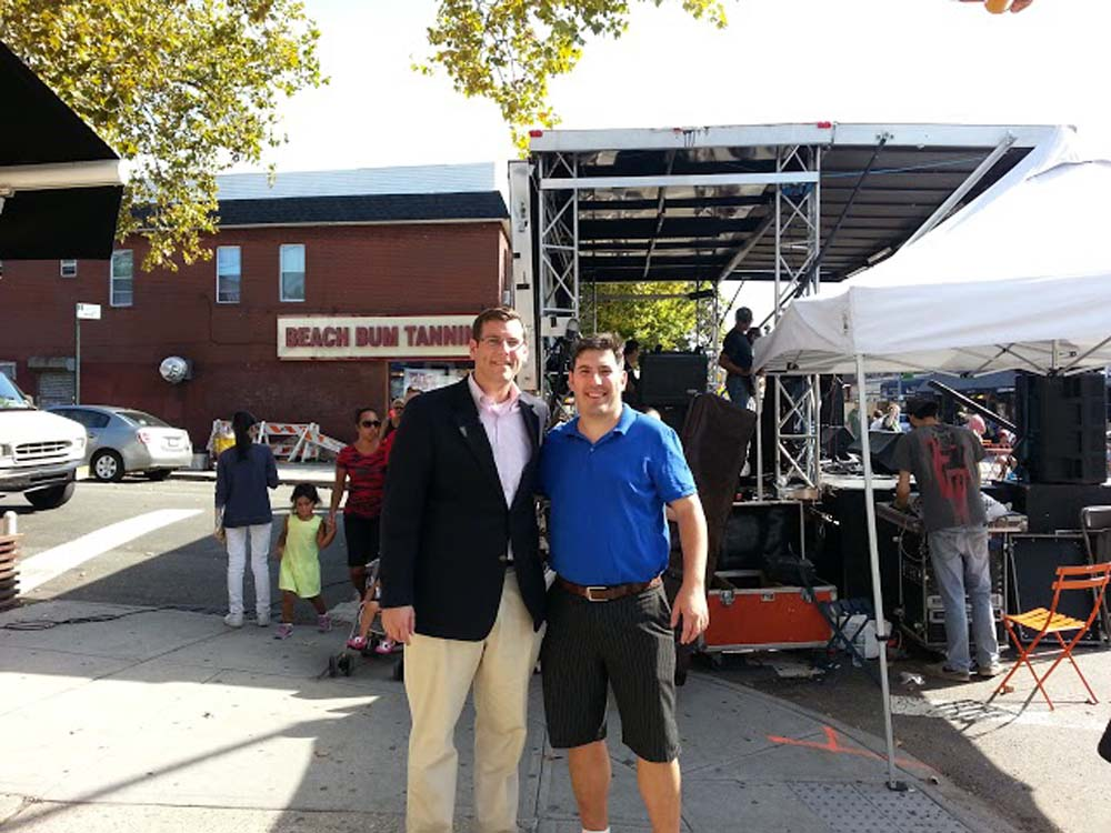 Assemblyman Braunstein co-sponsored this year's Bayside Village BID Sunday Stroll on the 100th Anniversary of the first street fair on Bell Boulevard. Assemblyman Braunstein is pictured with Bayside Village BID Executive Director Lyle Sclair.
