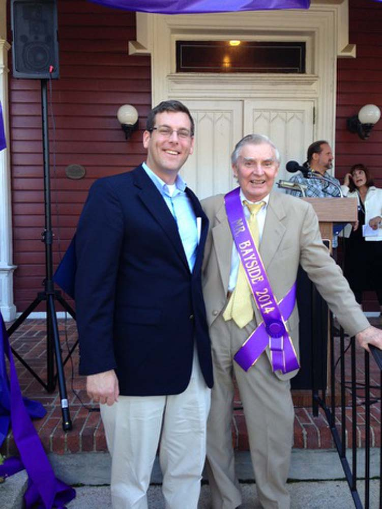 Assemblyman Braunstein attended the 100th Anniversary of Bayside Day Celebration, where he presented a New York State Assembly Citation to Mr. Bayside 2014, Theodore Hinz.