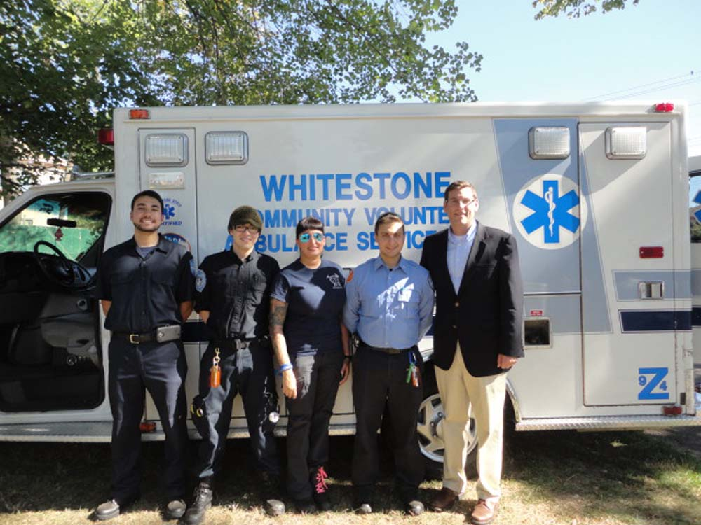 Assemblyman Braunstein attended the 109th Precinct's First Annual Family Fun Day. Assemblyman Braunstein is pictured with the Whitestone Community Volunteer Ambulance Service.