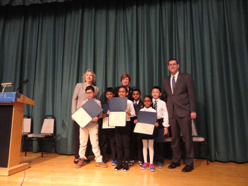 On November 14, 2014, Assemblyman Braunstein inducted the Student Council of PS 115 in Floral Park. Assemblyman Braunstein is pictured with Principal Kathleen A. Sciortino, Student Council Coordinator Mary O'Donoghue, and the newly elected Student Council members.