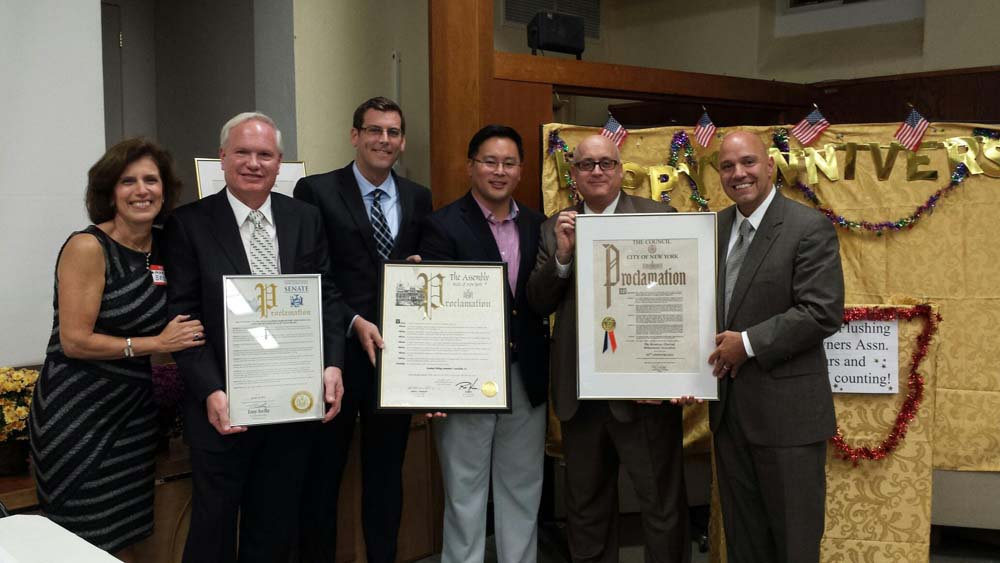 Assemblyman Braunstein presented a joint New York State Assembly Proclamation with Assemblyman Ron Kim to the Broadway-Flushing Homeowners' Association (BFHA) at their 50th Anniversary Meeting and Reception. Assemblyman Braunstein is pictured with Senator Tony Avella, Assemblyman Ron Kim, and Council Member Paul Vallone, as well as BFHA President Robert Hanophy, Jr., and Maria Becce.