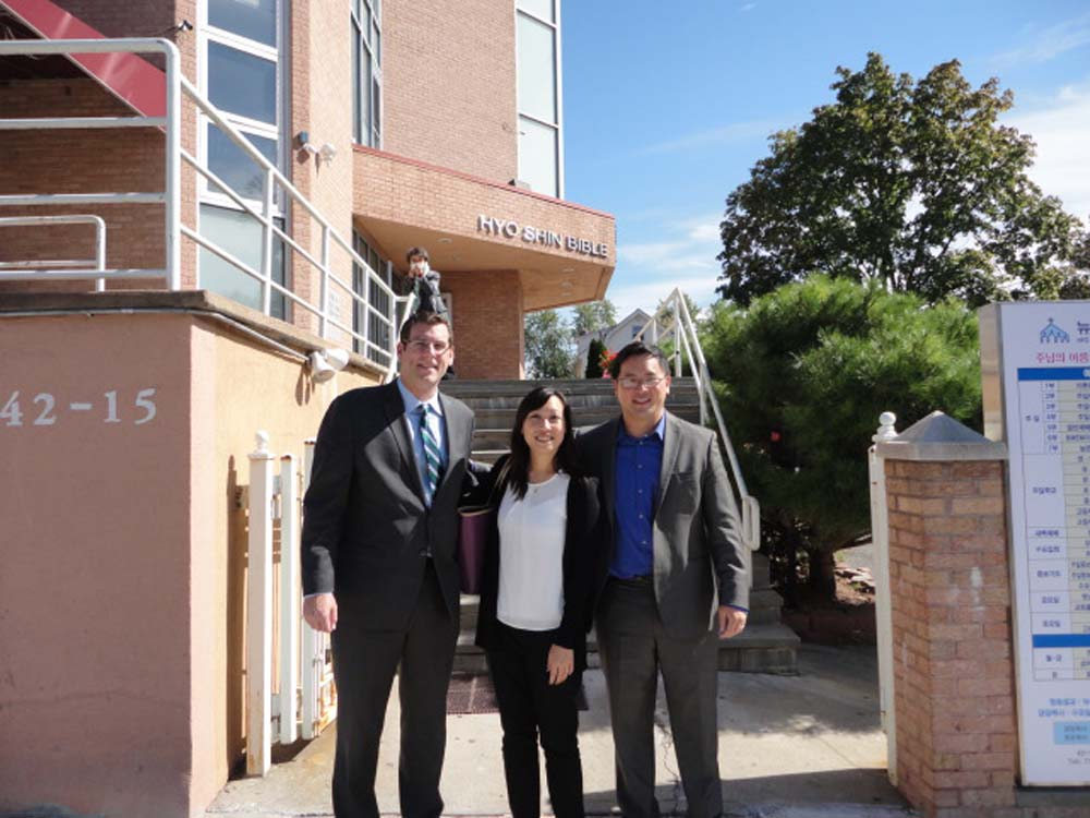 Assemblyman Braunstein and Assemblyman Kim visited their constituents at KCS Korean Senior Center of Flushing. Assemblymen Braunstein and Kim are pictured with KCS Executive Director Linda Lee.