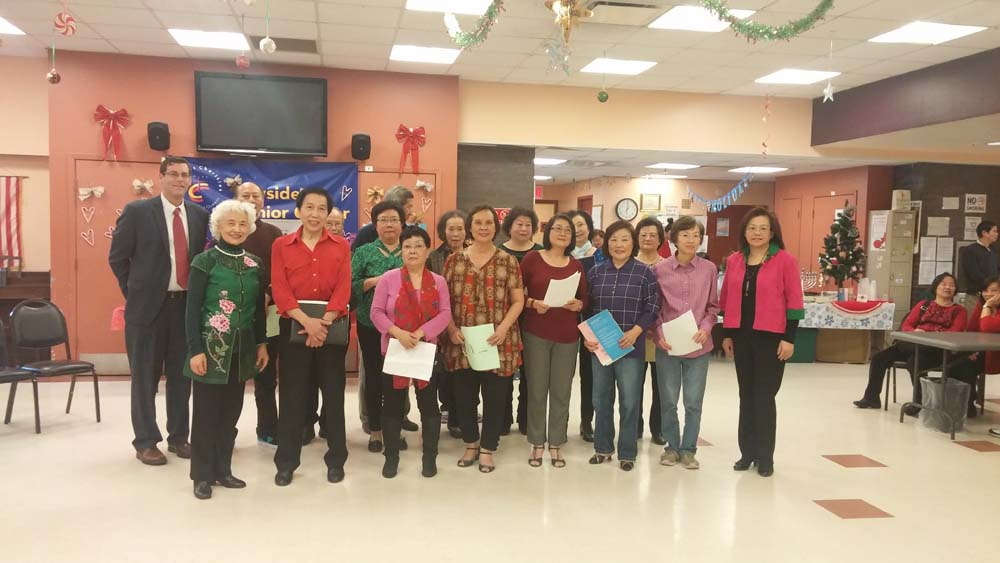 On December 20, 2014, Assemblyman Braunstein attended the Key Luck Club at Bayside Senior Center's Year-End Celebration Luncheon. Assemblyman Braunstein is pictured with members of the Key Luck Club and President Irene Cheung.