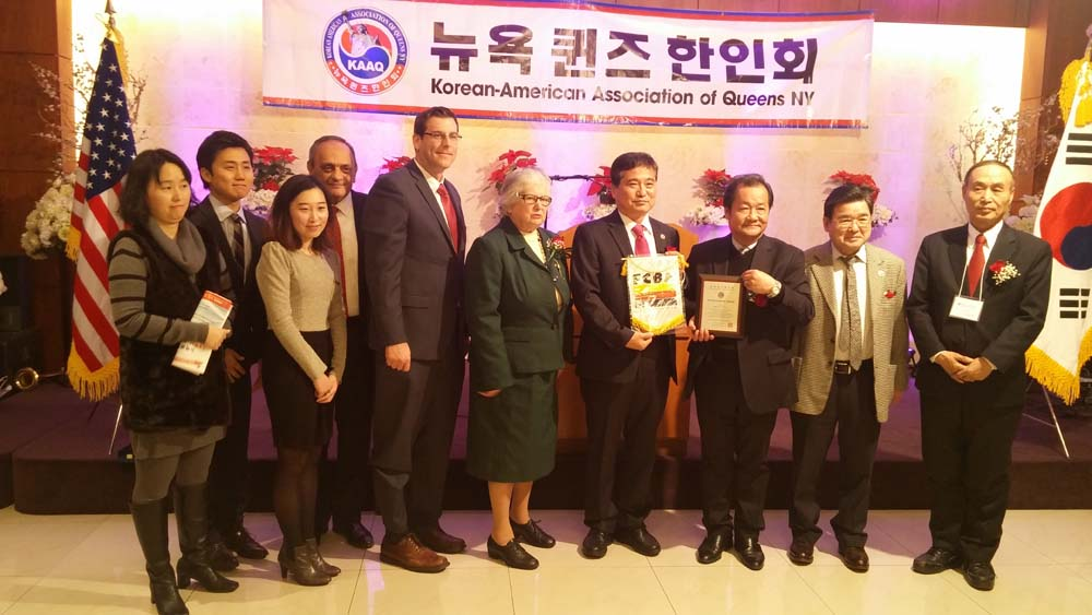 On December 20, 2014, Assemblyman Braunstein presented a joint NYS Assembly Citation on behalf of himself and Assemblyman Ron Kim at the Korean American Association of Queens' 34th Anniversary Benefit Gala. Assemblyman Braunstein is pictured with Senator Toby Ann Stavisky, Council Member Peter Koo, as well as members of KAAQ and the Flushing community.