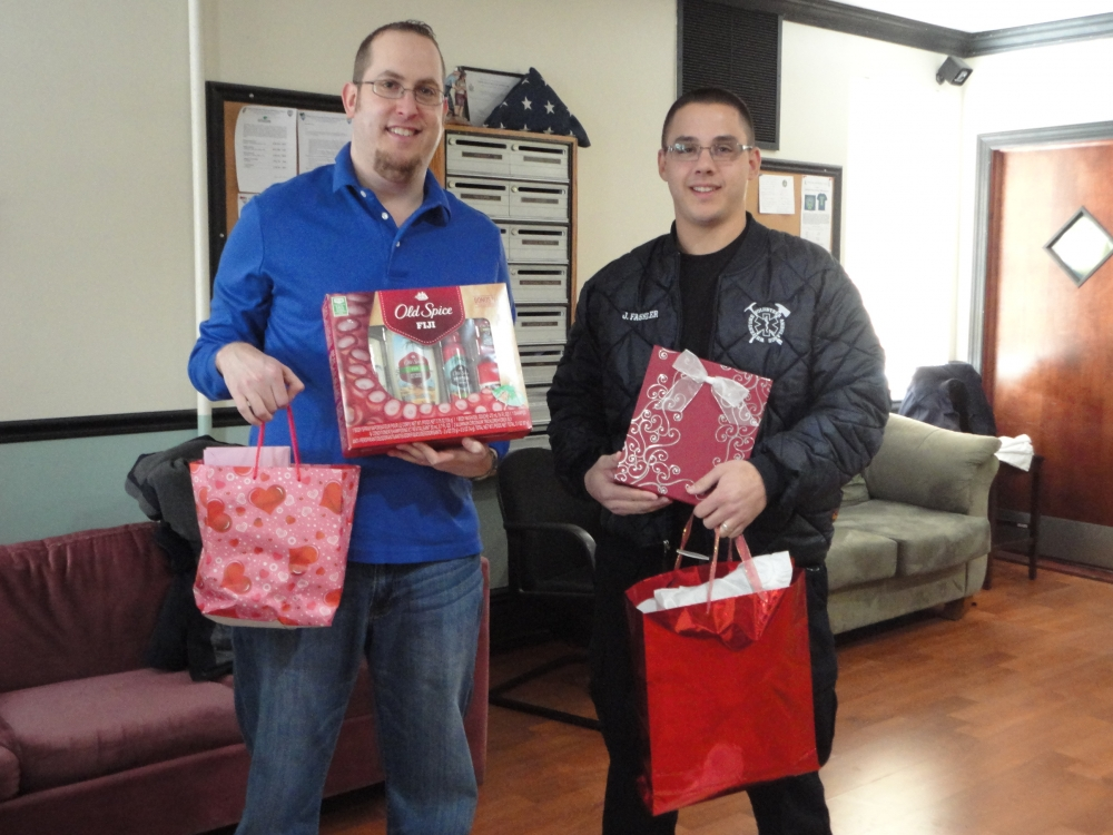 Assemblyman Braunstein's Chief of Staff David Fischer is pictured with Whitestone Volunteer Ambulance Service (WVAS) Director of Public Relations Jason Fassler. WVAS was a 24 hour drop-off location for the 19th annual Valentines for Vets gift drive.