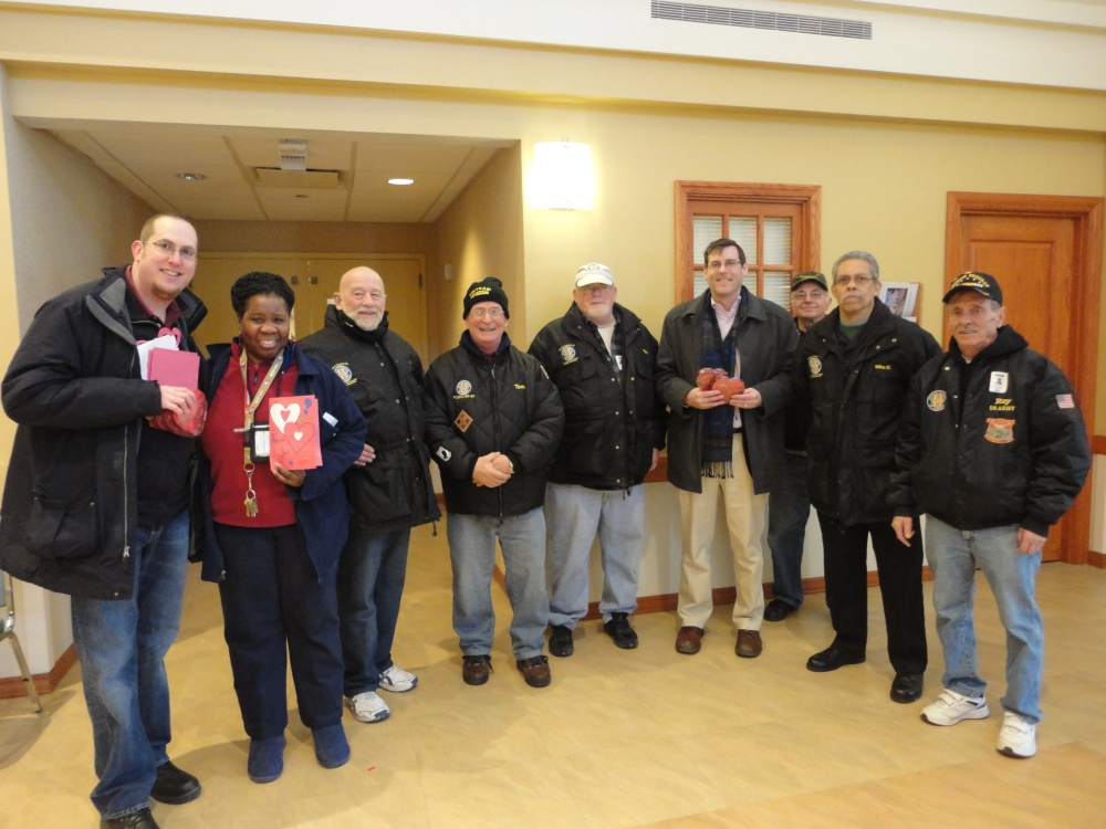 On February 13, 2015 Assemblyman Braunstein delivered donations from the 19th annual Valentines for Vets gift drive to the NYS Veterans Home at St. Albans. Assemblyman Braunstein is pictured with members of the Vietnam Veterans of America Chapter #32 and Deirdre Samuel, Coordinator of Volunteer Services at the NYS Veterans Home at St. Albans.
