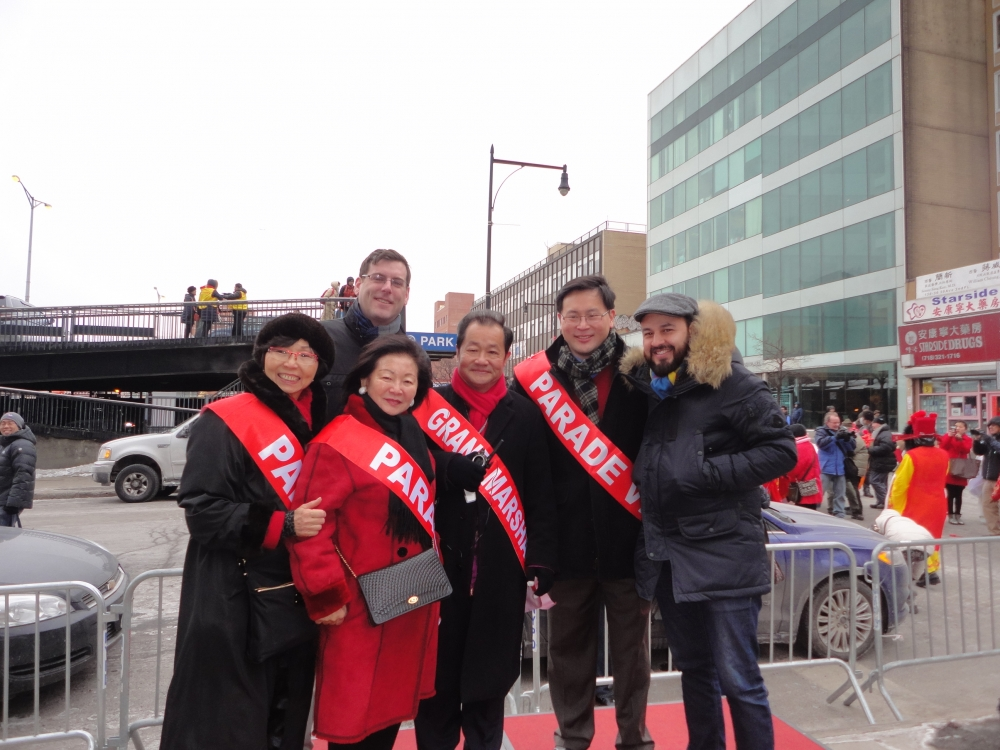 On February 21, 2015 Assemblyman Braunstein attended the Flushing Chinese Business Association (FCBA) / Korean American Association of Queens (KAAQ) Lunar New Year Parade in Flushing. Assemblyman Braunstein is pictured with Assemblymen Ron Kim and Francisco Moya, as well as FCBA Executive Director Peter Tu and President Liu Tee Shu.