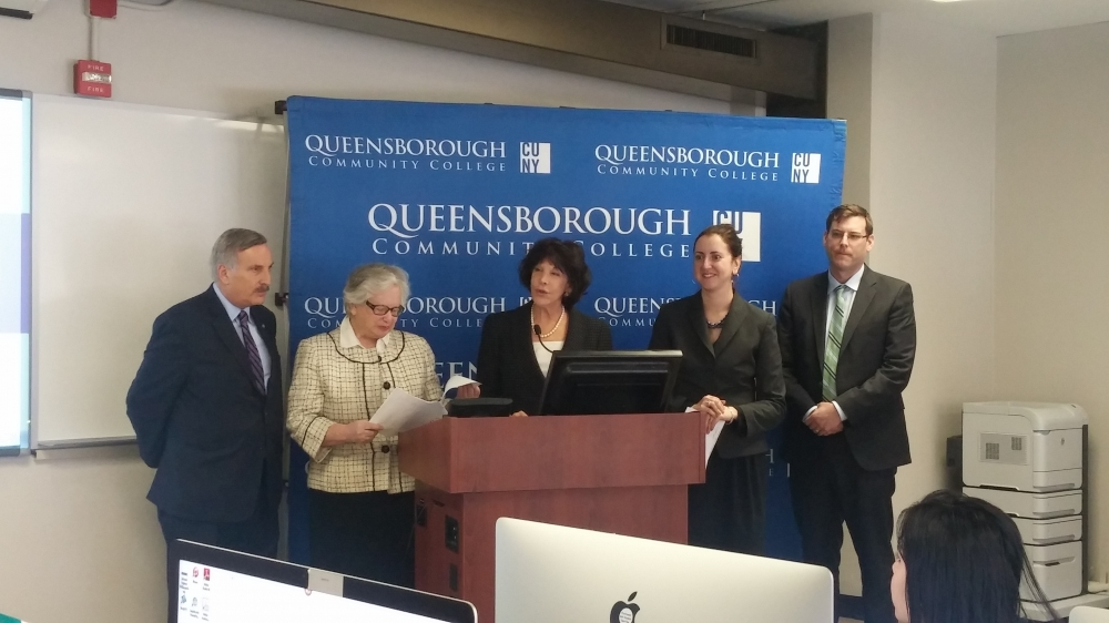 On February 23, 2015, Assemblyman Braunstein joined his colleagues, Senator Toby Ann Stavisky, Assemblywoman Nily Rozic, and Assemblyman David Weprin, as well as Queensborough Community College President Diane B. Call to announce the introduction of Senator Stavisky's and Assemblywoman Rozic's Community College High-Technology Investment Program (C-CHIP) legislation.
