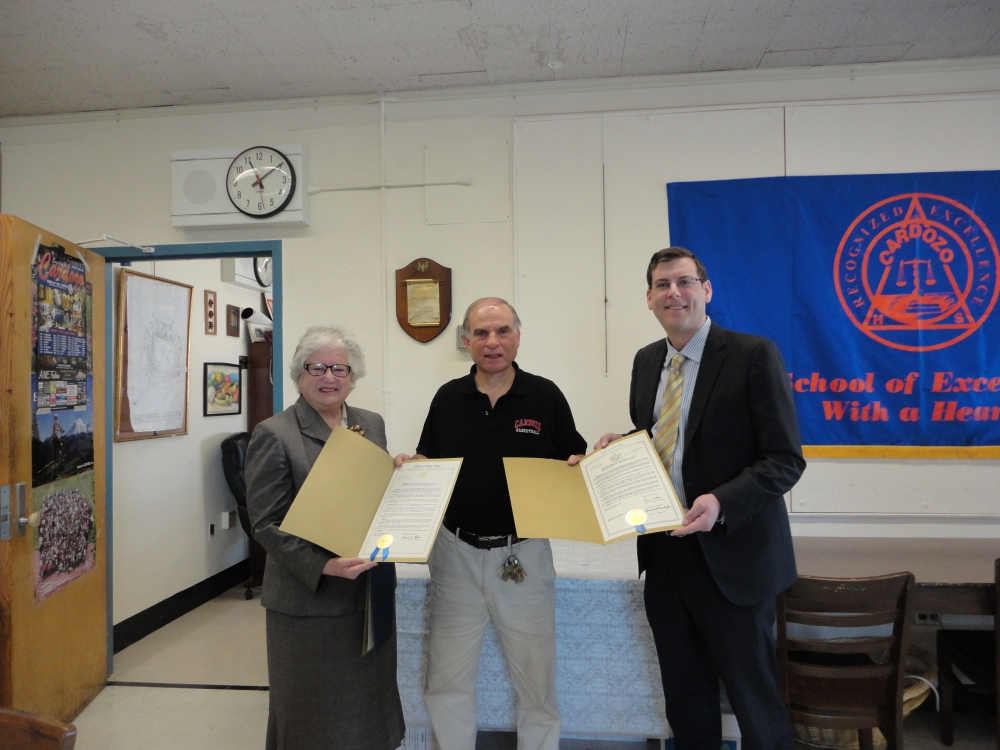 On March 13, 2015, Assemblyman Braunstein and Senator Toby Ann Stavisky presented a New York State Legislative Resolution to Cardozo High School Boys' Basketball Coach Ron Naclerio in honor of his 700th win.