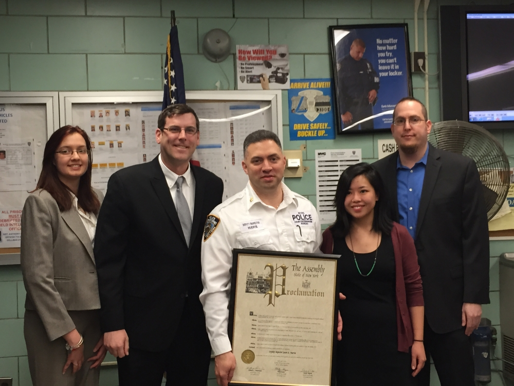 On April 14, 2015, Assemblyman Braunstein presented a joint New York State Assembly Proclamation to Deputy Inspector Jason Huerta, formerly the Commanding Officer of the 111th Precinct, who is now the Commanding Officer of Patrol Borough Bronx Counterterrorism Unit. Assemblyman Braunstein is pictured with Chief of Staff David Fischer and representatives from the offices of Assemblywoman Nily Rozic and Assemblyman David Weprin.