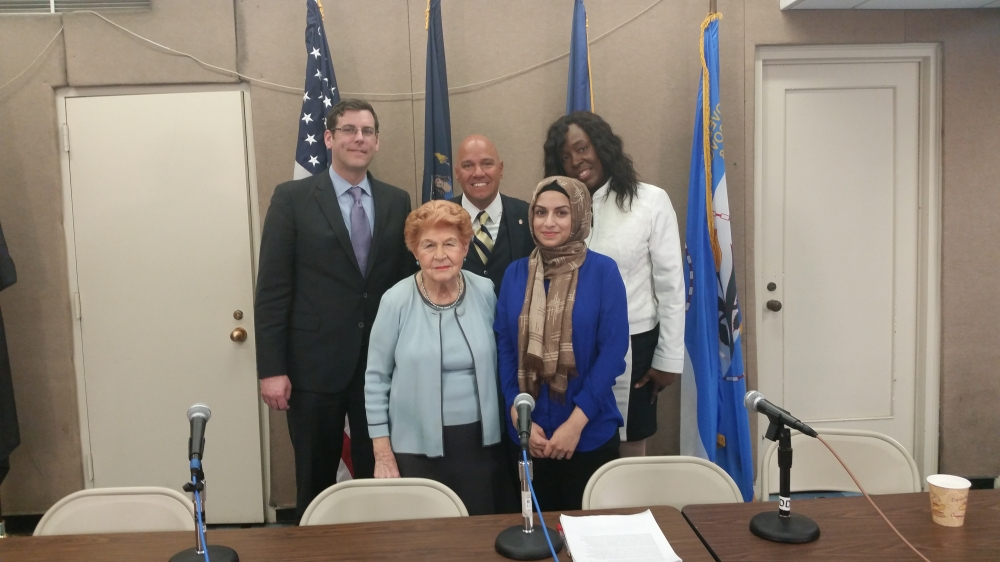 On April 30, 2015, Assemblyman Braunstein participated in a Queens Public Television and Center for the Women of New York (CWNY) panel on the issue of Violence Against Women, where he discussed his recent campus safety law. Assemblyman Braunstein is pictured with Council Member Paul Vallone, CWNY Executive Director Ann Jawin, Carol Brathwaite and Saleha Aktar.