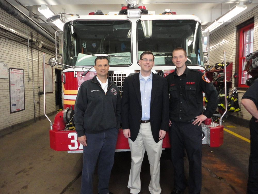 On May 2, 2015, Assemblyman Braunstein attended the Engine 313 Open House in Douglaston on Saturday with Captain Colabella and Firefighter Brian Connolly in honor of the New York City Fire Department's 150th Anniversary.