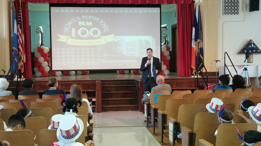 On May 29, 2015, Assemblyman Braunstein presented a New York State Legislative Resolution to PS 94: The David D. Porter School in Little Neck in honor of the school's 100th Anniversary.