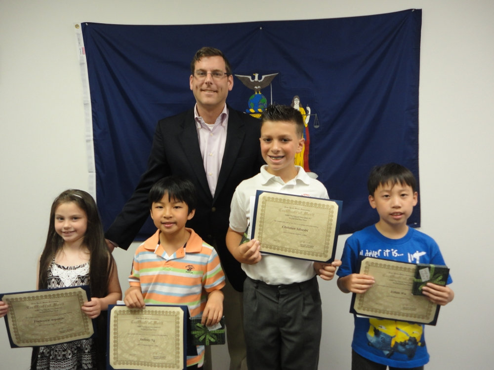 On June 5, 2015, Assemblyman Braunstein congratulated the winners of his Mother's Day Essay and Poetry Contest 2015. Assemblyman Braunstein is pictured with 2nd Grade Grand Prize Winner Francesca Argenzio, 3rd Grade Grand Prize Winner Anthony Ng, 5th Grade Grand Prize Winner Christian Silvestri, and 4th Grade Grand Prize Winner Ethan Wu.