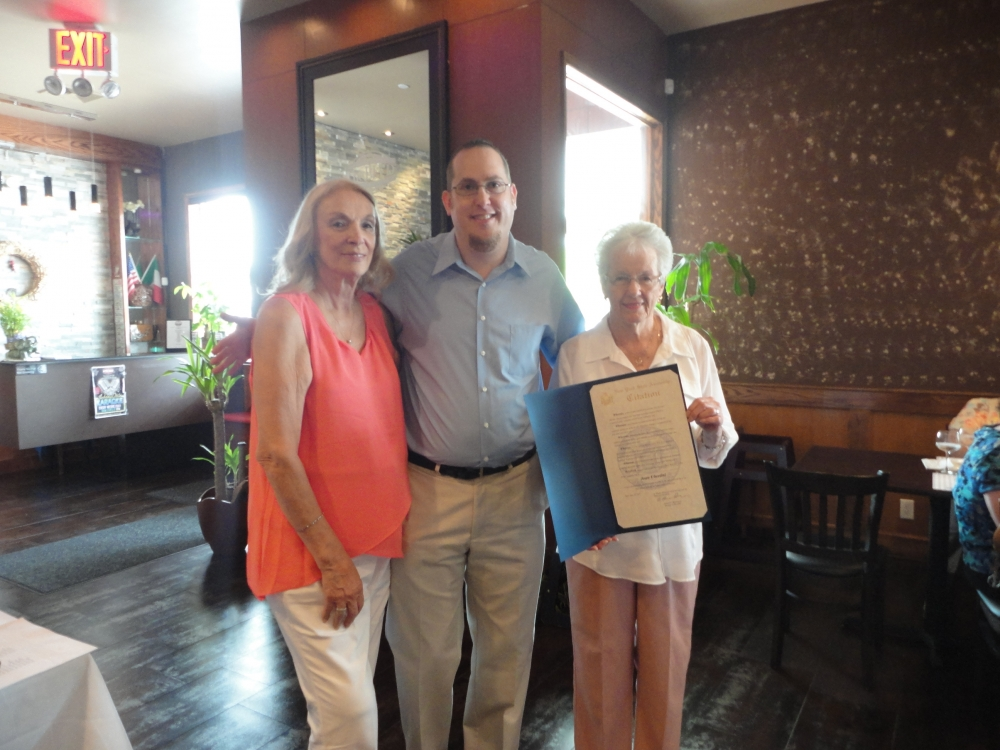 On June 23, 2015, my Chief of Staff David Fischer presented a citation on my behalf to Joan Ubertini, former Director of the Greater Whitestone Taxpayers Community Center. David Fischer is pictured with Joan Ubertini, and current Director Ruth Cipko.