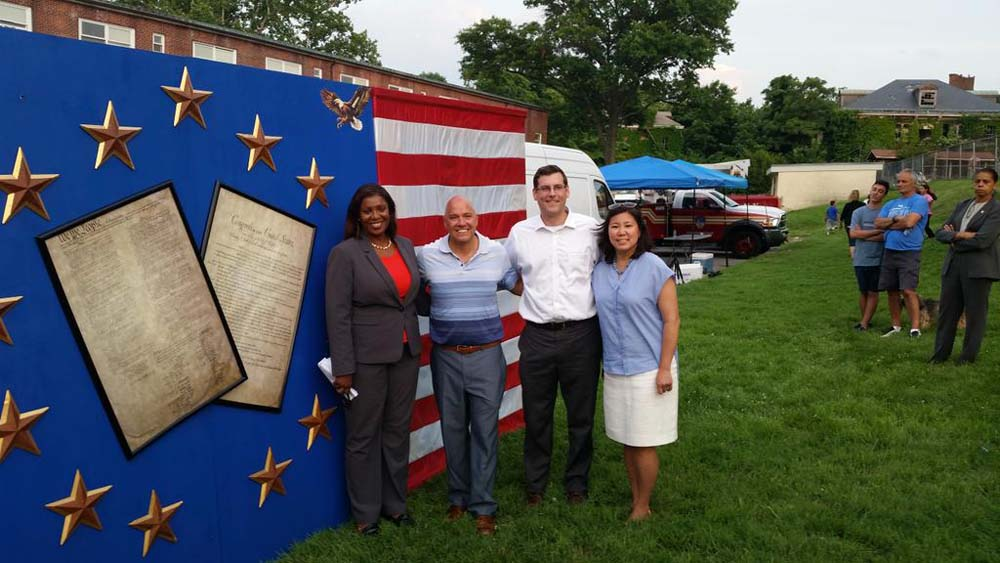 On July 1, 2015, Assemblyman Braunstein attended the Independence Day Fireworks Celebration, organized by Council Member Paul A. Vallone and the Bayside Historical Society. Assemblyman Braunstein is pictured with Public Advocate Letitia James, Council Member Vallone, and Congresswoman Grace Meng.