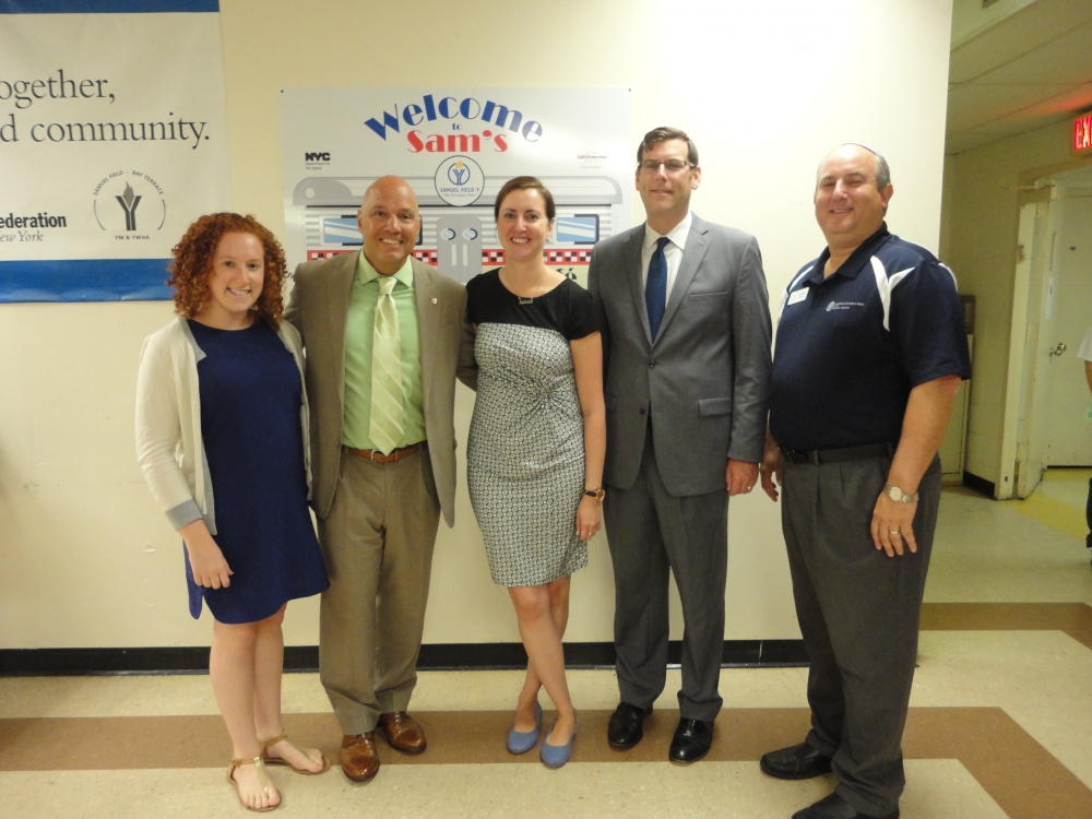 On August 31, 2015, Assemblyman Braunstein spoke at the Met Council's Senior Impact Day event at the Samuel Field Y. Assemblyman Braunstein is pictured with Met Council Communication Manager Rena Resnick, Council Member Paul Vallone, Assemblywoman Nily Rozic, and Samuel Field Y Executive Director Aaron Rosenfeld.