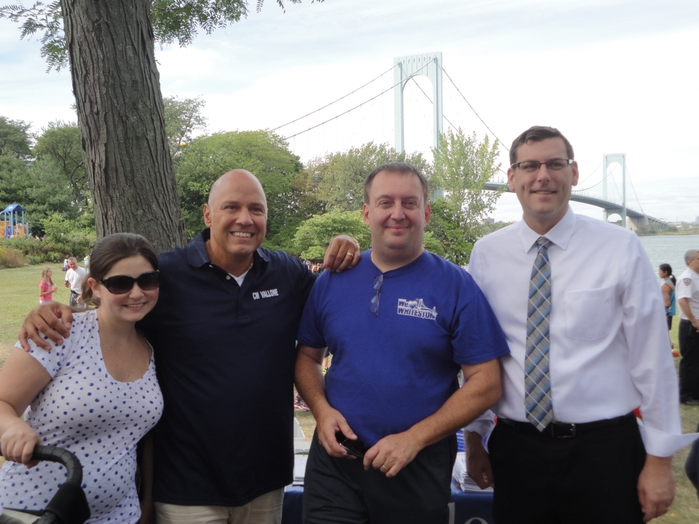 On September 26, 2015, Assemblyman Braunstein visited the 2nd Annual Family Fun Day sponsored by the 109th Precinct Community Council and We Love Whitestone. Assemblyman Braunstein is pictured with his wife, Stephanie, Council Member Paul Vallone, and We Love Whitestone President Alfredo Centola.