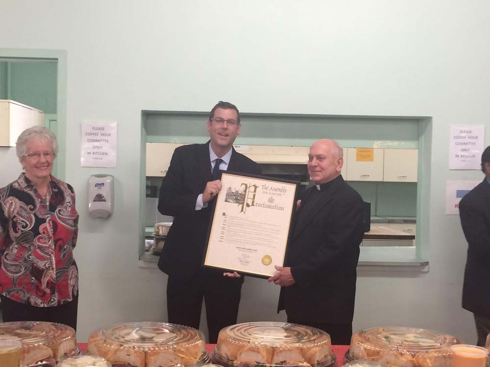 On October 11, 2015, Assemblyman Braunstein presented a NYS Assembly Proclamation to Bayside United Methodist Church in celebration of its 125th Anniversary. Assemblyman Braunstein is pictured with Pastor William Wendler and Lay Leader Joan Ubertini.