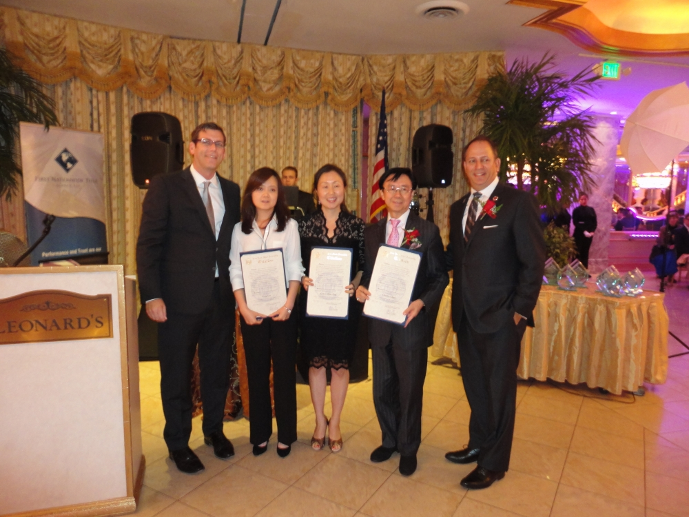 On October 15, 2015, Assemblyman Braunstein presented NYS Assembly Citations of Merit to the honorees at the Asian American Real Estate Association (AREAA) – NY East Chapter's 3rd Annual Gala: Charles Chan, CEO of Harvest International, Grace Shim Esq., Executive Director of MinKwon Center for Community Action, and Yong Lee, President of X-Treme Care, LLC. Also pictured is AREAA – NY East Chapter President David Legaz.